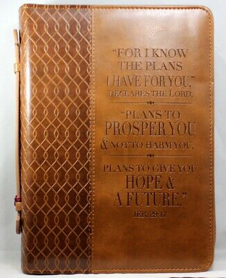 "Bible Cover NEW ""For I Know The Plans"" Large TwoTone Brown LuxLeather Jer. 29:11"