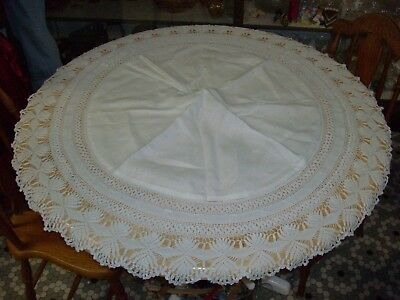 Antique Round Linen & Ornate Crocheted Lace Tablecloth / Centerpiece - 46 Inch