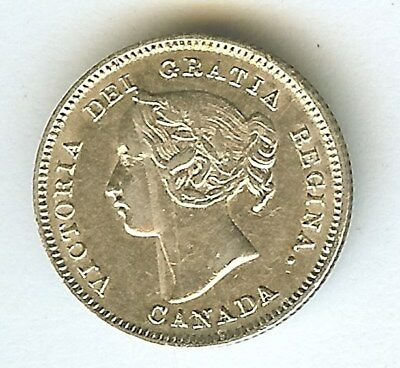 Canada 1901 Silver 5 Cents  Choice About Uncirculated
