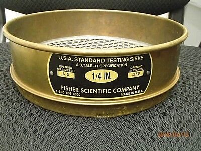 "Testing Sieve Fisher Scientific Company No. 1/4"" -  8-1/2"""