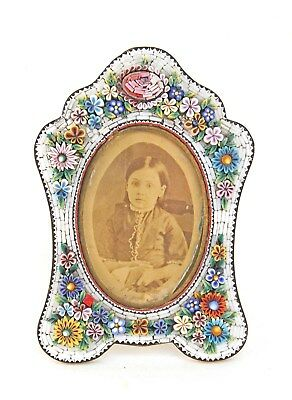 High Relief Antique Micro Mosaic Floral Picture Frame