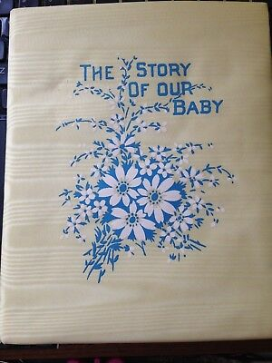 """Vintage Baby Book The Story of Our Baby Yellow Moire Cover 7"""" x 8.5"""""""