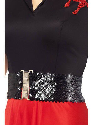 Adult Womens Glamorous Black Sequin Studded 50s Waist Belt Costume Accessory