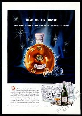 1947 Remy Martin Louis XIII cognac bottle photo Christmas vintage print ad