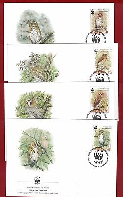 2004 Philipinas WWF Endangered Species Set SG 3719/22 four FDC or FU
