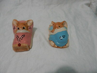 2 pendelfin Rabbit Figurine Wakey and Peeps in bed made in England