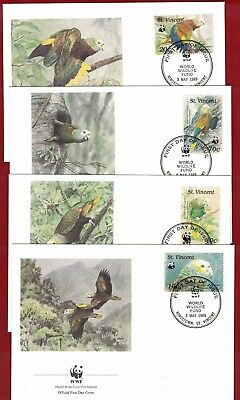 1989 St. Vincent WWF Endangered Species Set SG 1240/3 four FDC or FU