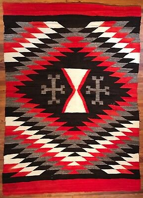 Incredible & Large Historic Transitional Blanket,Bold Spider Woman Crosses,c1890