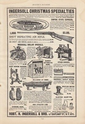 1899 Robt T Ingersoll & Bro New York NY Ad: Christmas Gifts 1000 Shot Air Rifle