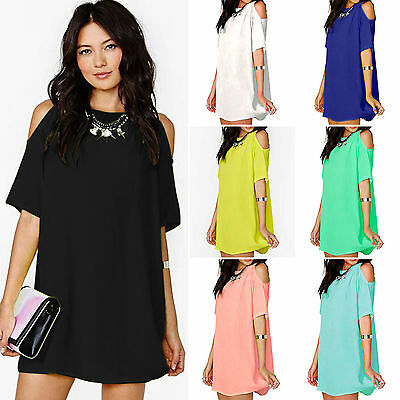 Women's Ladies Summer Party Chiffon Solid Tops Dress Clothes Plus Size Blouse
