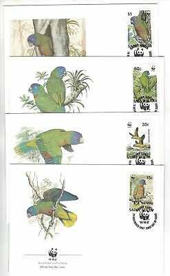 1987 St. Lucia WWF Endangered Species Set SG 572/5 four FDC or FU