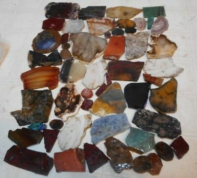Unpolished Slabs - 3 lb-55 pc-cabs ,crazy lace, jade,  bloodstone, plume, more