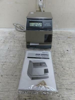 Amano PIX-3000x Electronic Time Recorder with Keys & Manual ~ NEW ~FREE SHIPPING