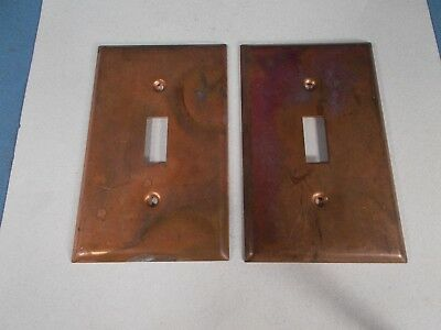 Pair of Antique COPPER Single Toggle Light Switch Plate Covers
