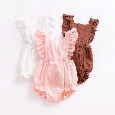 Newborn Toddler Infant Baby Girl Cotton Romper Jumpsuit Bodysuit Outfits Sunsuit