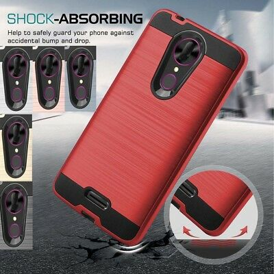 For T-mobile Revvl Plus Brushed Armor Hybrid Shockproof Rubber Phone Case Cover