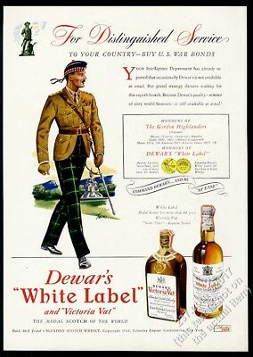 1945 Clan Gordon Highlander art Dewar's VV WL Scotch Whisky vintage print ad