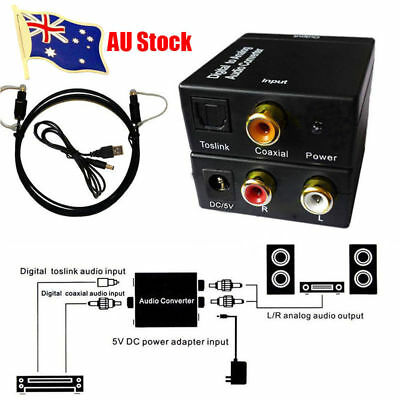 RCA Digital Optical Coax Coaxial Toslink to Analog Audio Converter Adapter AU