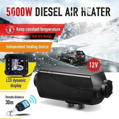12V 5KW Diesel Air Heater for Car Truck Boat w/ Timer LCD Remote Control - Black
