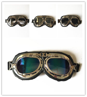 1×Retro Aviator Pilot Vintage Goggles For Motorcycle Cruiser Cafe Scooter Harley