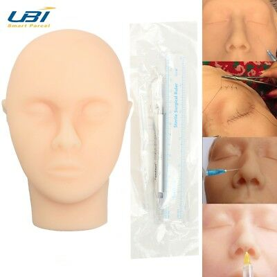 Suturing Training Kit , Silicone Face Skin Suture Practice Head Injection Model