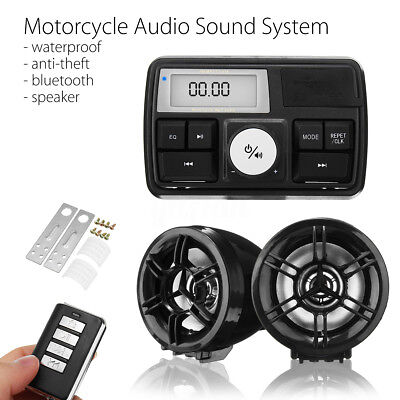 Impermeabile Bluetooth Audio Sistema Moto Stereo Radio  Mp3 + 2 Altoparlanti Usb