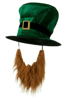 Green Plush St. Patricks Day Leprechaun Top Hat w/ Buckle Band & Attached Beard