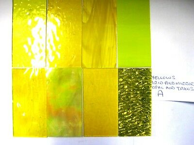 8 YELLOW Stained Glass Hobby Sheets 100mm x 50mm x 3m  Quality Craft Items LOT A