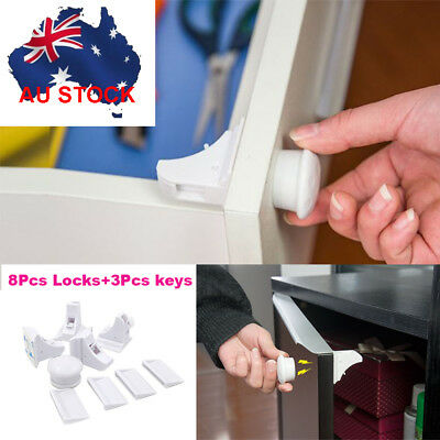 Magnetic Baby Kids Pet Proof Cupboard Cabinet Drawer Safety Magnetic Keys Lock