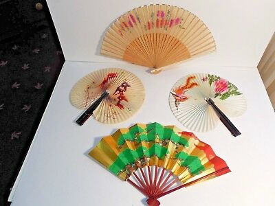 4~Vintage Japanese/China Fans~(2) have some damage~(2) in Excellent Condition