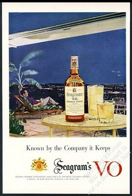 1954 modern house overlooking city evening photo Seagram's VO Whisky print ad