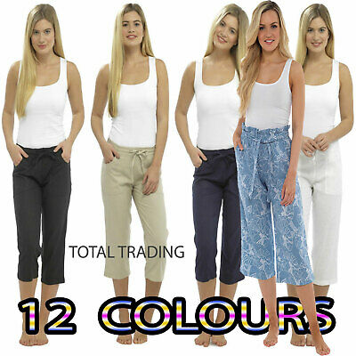 release info on factory outlets release info on LADIES LINEN CROPPED Trousers Womens 3/4 Length Shorts UK ...