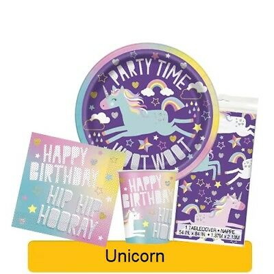 UNICORN Birthday Party Range - Tableware, Banners, Balloons & Decorations (UQ)1C