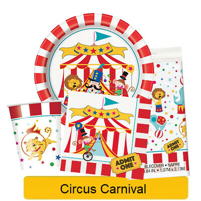 CIRCUS CARNIVAL Birthday Party Tableware, Banners, Balloons & Decorations (UQ)