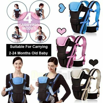 Newborn Baby Carrier Sling Wrap Backpack Front Back Chest Ergonomic - 4 Position