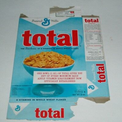 1960's General Mills TOTAL cereal box - vintage product