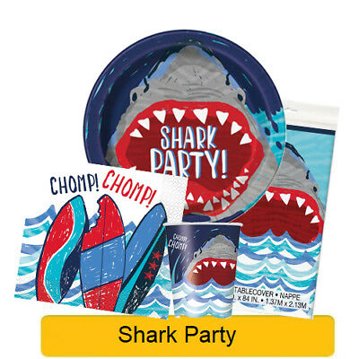 SHARK PARTY Birthday Party Tableware, Banners, Balloons & Decorations (UQ) 1C
