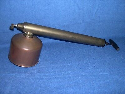 "Vintage Antique 18"" Brass & Copper Hand Pump Sprayer Original Wooden Handle"