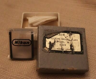 Nikon F Model B  Focusing Screen / Ground Glass With Case & Box Vintage