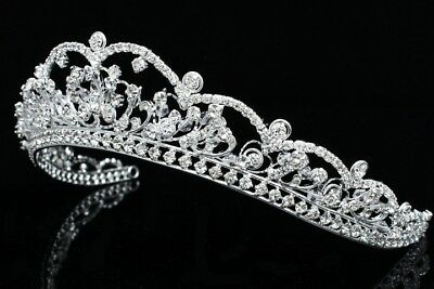 Bridal Flower Rhinestones Crysta Prom Wedding Crown Tiara 7799