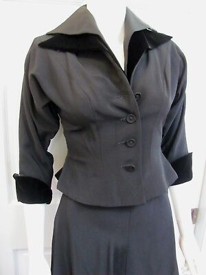 VTG 50s DIOR INSPIRED NEW LOOK Black FAILLE VELVET COLLAR-CUFF NIPPED WAIST SUIT