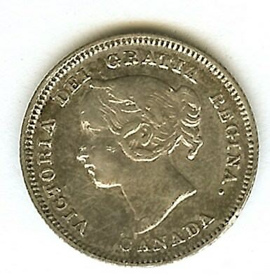 Canada 1900 Silver 5 Cents  About Uncirculated