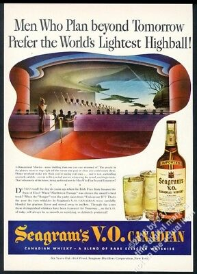 1943 streamlined future 3D 3-D movie theatre art Seagram's VO Whisky print ad
