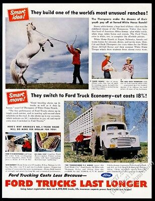1951 Naper Nebraska albino White Horse Ranch photo Ford truck vintage print ad