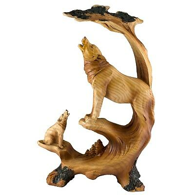 Wolf Howling Faux Carved Wood Look Figurine Resin 9 Inch High New!