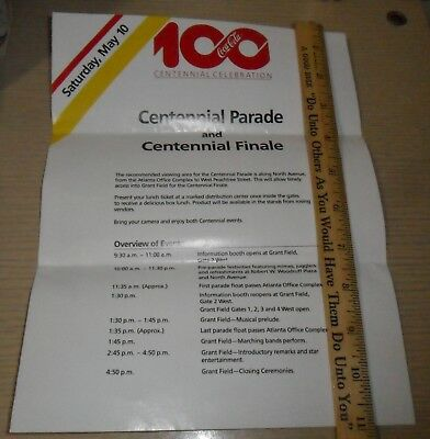 Coca-Cola ~ 100th Year Pamphlet ~ Centennial Celebration Finale Info