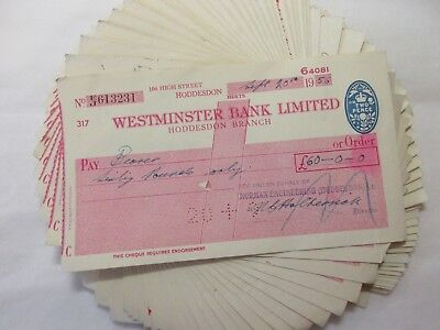 job lot  of old / used vintage westminster bank cheques