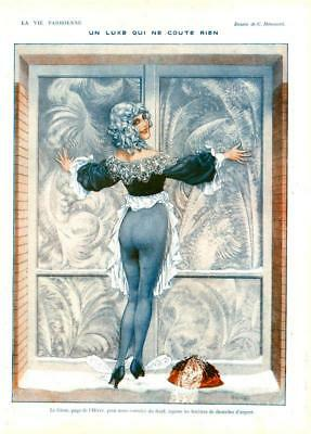 1918 ORIGINAL  FRENCH WW1 PRINT Sexy Girl / Lace / Winters Day by HEROUARD (491)