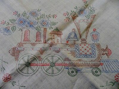 Lot of 2 Vtg Stamped Embroidery Linen Tablecloths Tea Party Steam Trains Flowers