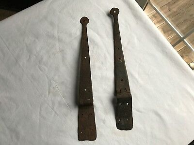 Antique Iron Strap Hinges Hand Forged Wrought Blanket Chest Restoration PA barn
